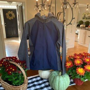 Ladies HOLLOWAY small blue/gray shell zip up coat!
